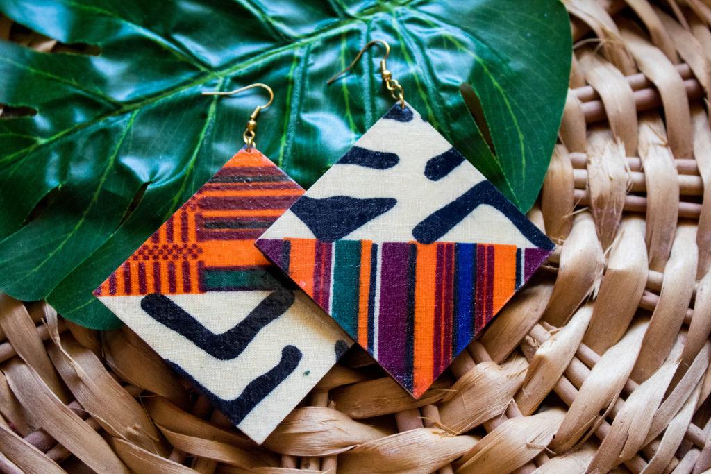 Blue//Orange African Reversible Mud Print JacketOne-Size